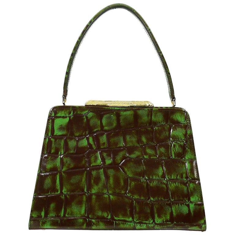 Christian Lacroix Vintage Croc Embossed Handbag For Sale