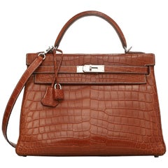 Hermes fauve Niloticus matte crocodile leather Kelly Retourne 32 Bag