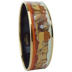 Hermès Printed Enamel Bracelet Lions And Lionesses In Savannah Gold Hdw Size 65