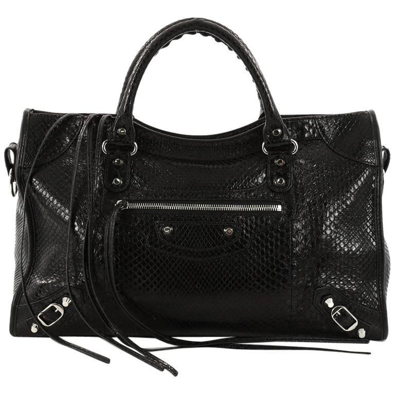 Balenciaga City Classic Studs Handbag Python Medium at 1stdibs 2e2d2c2d1cdf4
