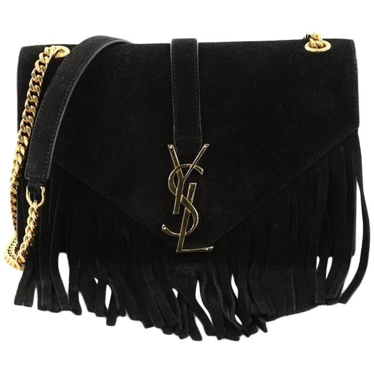 Saint Laurent Classic Monogram Fringe Crossbody Bag Suede Small For Sale 3247a3d83604b