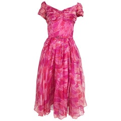 Hot pink modernist floral print off the shoulder early 1960s organza dress