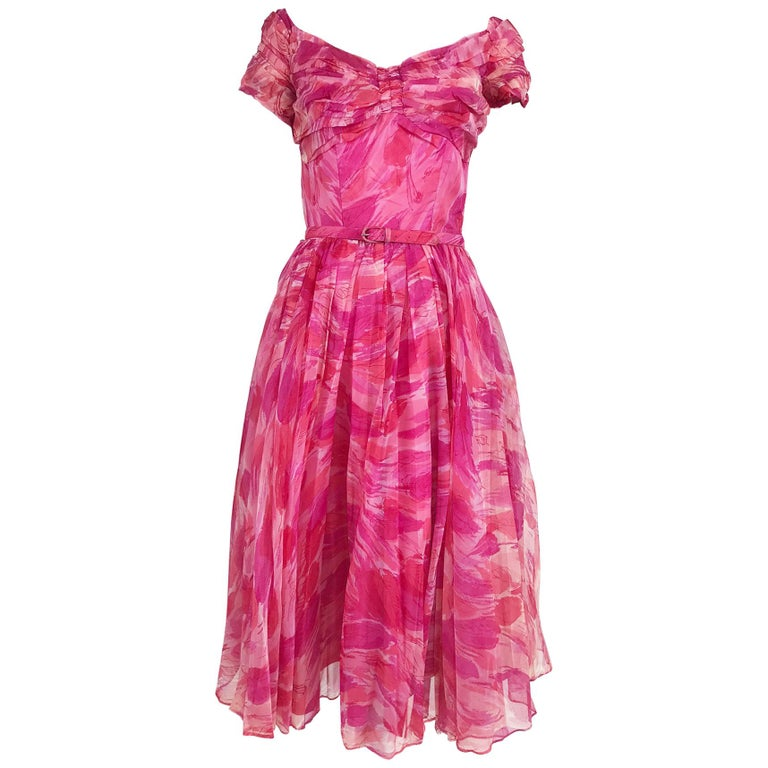Hot pink modernist floral print off the shoulder early 1960s organza dress For Sale
