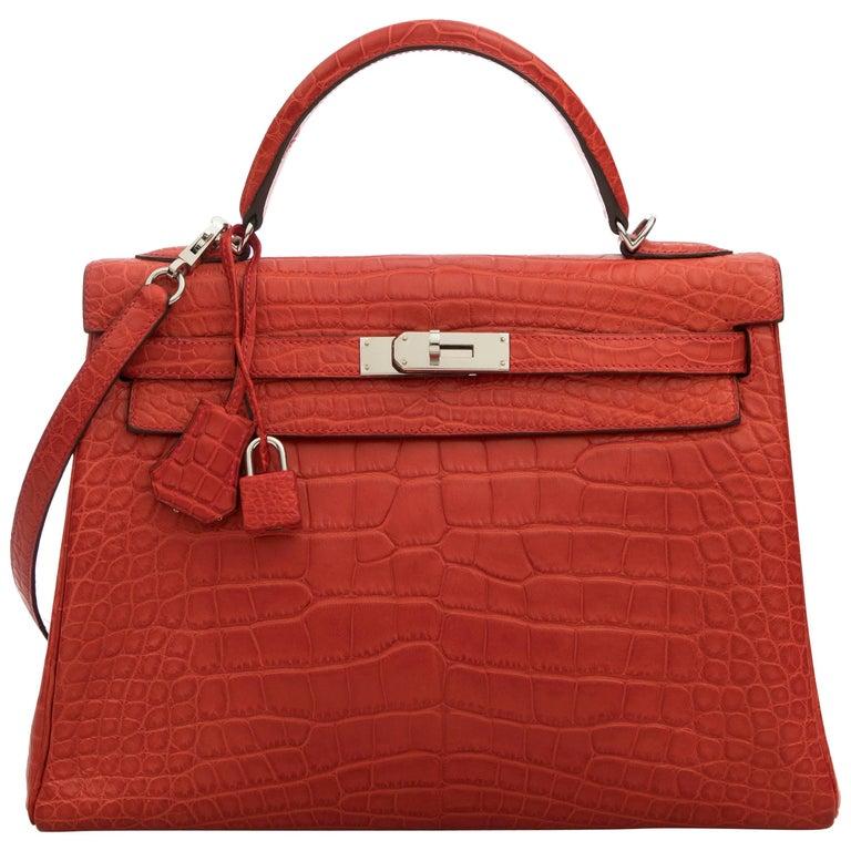 Hermes Kelly 32 rouge pivoine bag