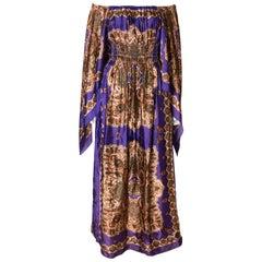 A Vintage 1970s full length printed off shoulder summer festival dress
