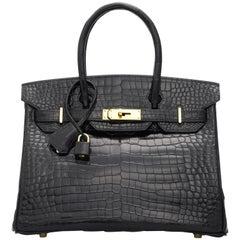 Black Shiny Porosus Crocodile Birkin 30 Bag