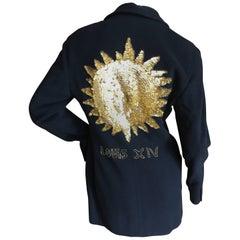 Dolce & Gabbana 1980's Sun King Le Roi Sequin Beaded Black Jacket