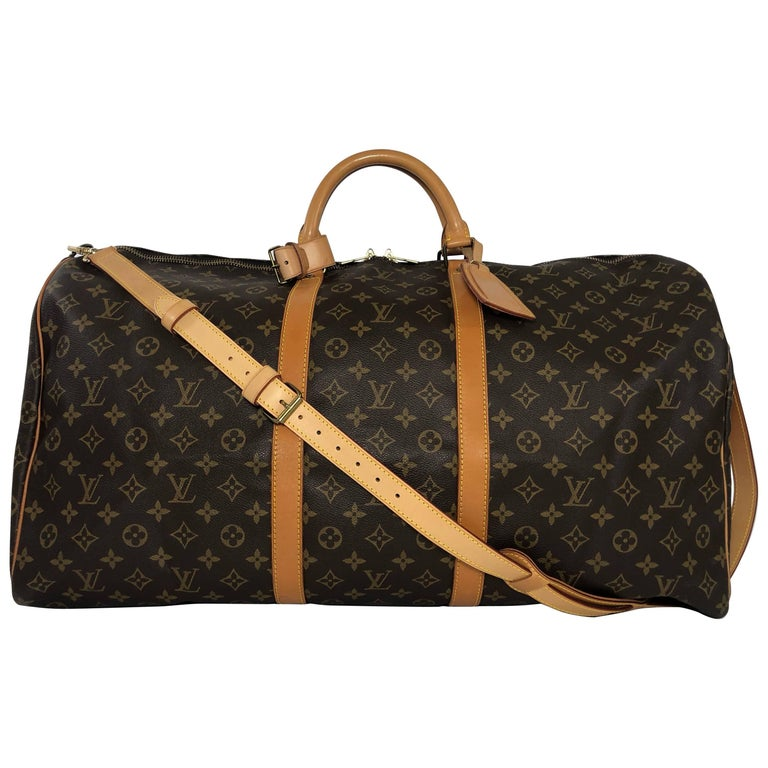 Louis Vuitton Monogram Keepall Bandoliere 60 Bag For Sale