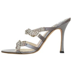 Brian Atwood Grey Satin & Pave Crystal Sandals Sz 39 NEW