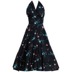 1950's Atomic Novelty Print Cotton Shelf-Bust Halter Belted Full Sun Dress