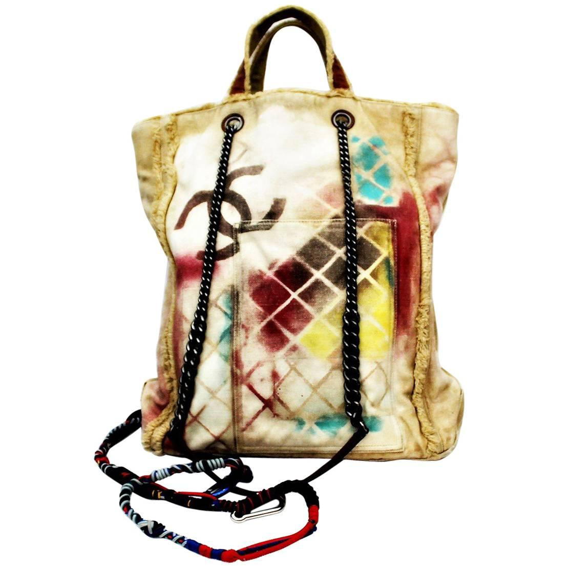 Chanel Graffiti Coco Cc Multicolor Quilted Painted Shoulder Beige Canvas Tote