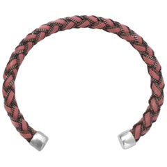Bottega Veneta Pink Leather & Sterling Silver Braided Chain Cuff Bracelet