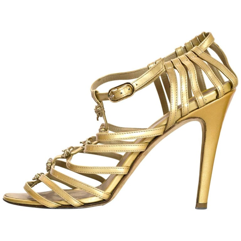 Chanel Champagne Patent Leather Caged Sandals Sz 41