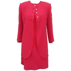 1980's Bill Blass Red Dress & Jacket Ensemble