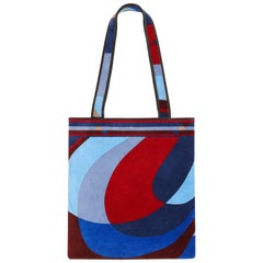 EMILIO PUCCI c.1970's Multicolor Geometric Signature Print Velvet Tote Hand Bag