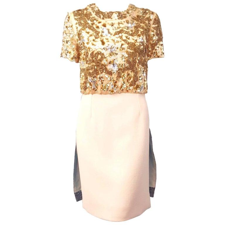 Michael Van Der Ham Multi Fabric & Color Short Sleeve Dress