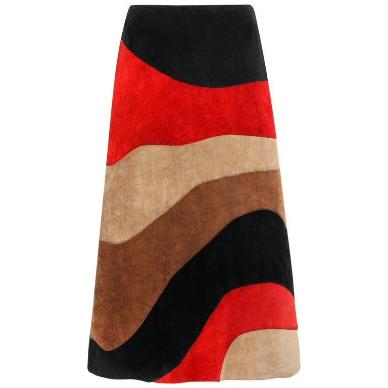 ANNE KLEIN c.1970's Red Black Brown Colorblock Suede Leather A Line Skirt