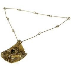 Brutalist Brass Necklace with Sculptural High Relief Pendant