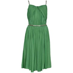 Alaia Green Goddess Drape Mini Dress with Silver Heart Detail