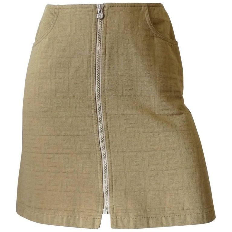 1990s Fendi Tan Zucca Zip Up Denim Skirt
