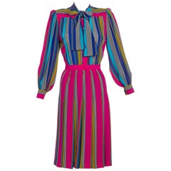 1982 Yves Saint Laurent Multicolored Striped Silk Dress Documented YSL