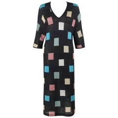 MISSONI S/S 1984 Black Multicolor Square Pattern Knit V Neck Maxi Dress