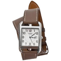 Hermes Etoupe Swift Leather Cape Cod GM Double Tour Watch