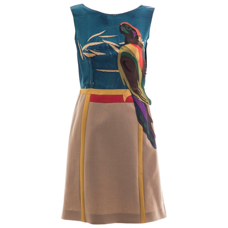 Prada Runway Sleeveless Silk Mohair Dress Applique Parrot Motif, Spring 2005 For Sale