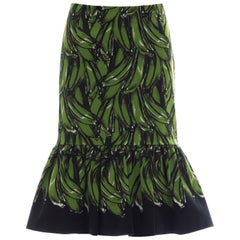 Prada Black Cotton With Green Plantains Print Skirt, Spring - Summer 2011