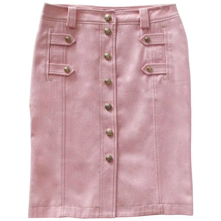 1990s Versace Baby Pink Button Up Skirt