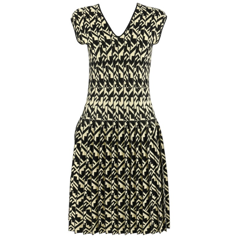 ETRO Black & Soft Yellow Geometric Knit Drop Waist Pleated Cocktail Dress NWT