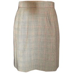 Yves St. Laurent Plaid Mini Houndstooth Mini Skirt