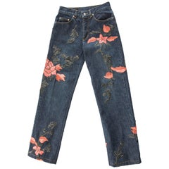 Tom Ford for Gucci Runway Men's Floral Embroidered Denim Jeans, Fall, 1999