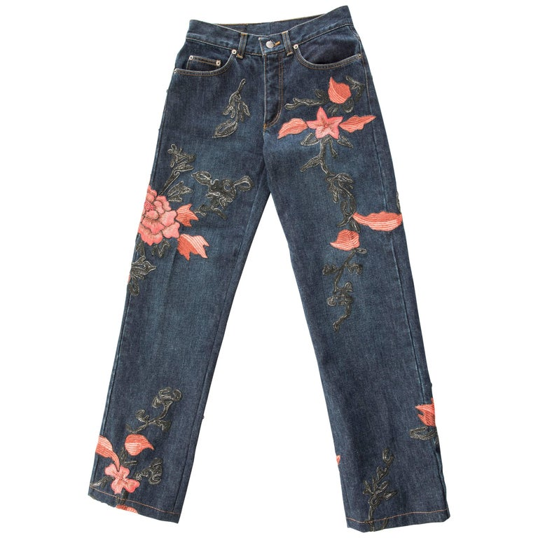Tom Ford For Gucci Men's Floral Embroidered Jeans Autumn - Winter 1999