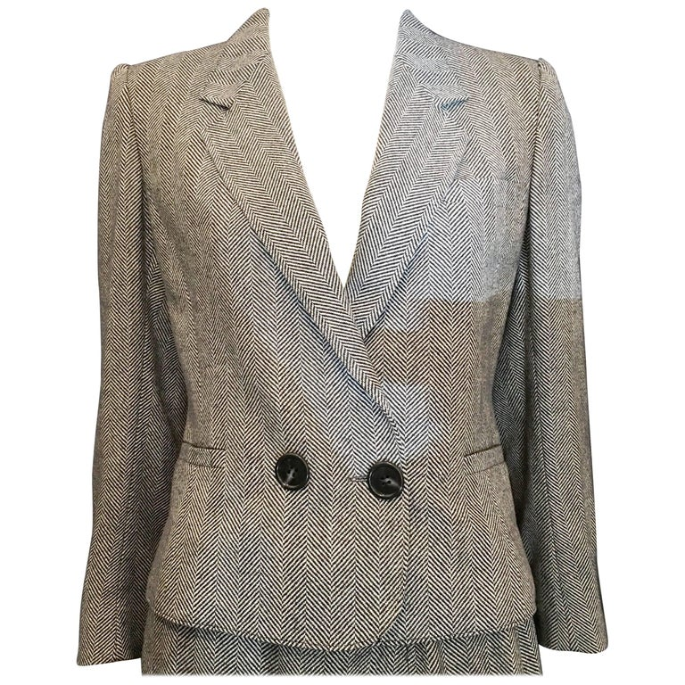 Guy Laroche Cropped Black and White Wool Blazer