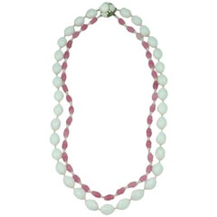 Miriam Haskell  Rose Pink and White Necklace