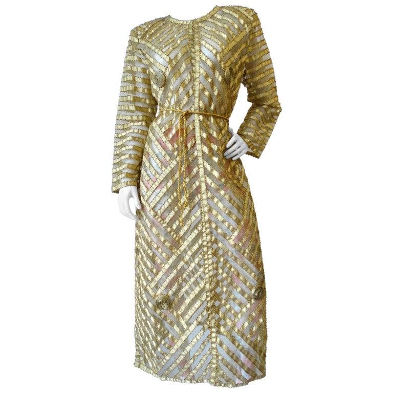 1980s Golden Beaded Dress Coat