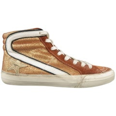 GOLDEN GOOSE Size 6 Bronze Suede & Glitter Lace Up Sneakers
