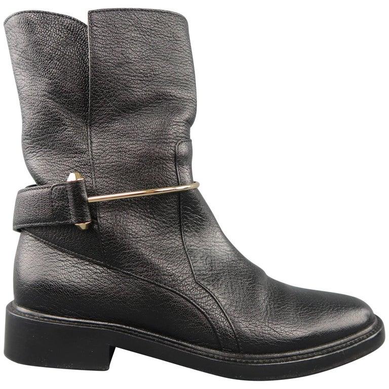 f6b59d6b0cbaa BALENCIAGA Size 7 Black Textured Leather Gold Metal Strap .