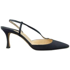 MANOLO BLAHNIK Size 8.5 Navy Fabric Diagonal Ankle Strap Pumps