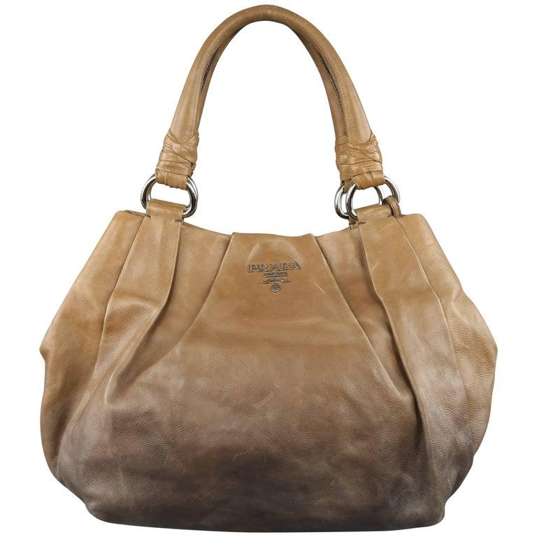 PRADA Taupe Ombre Leather Degrade Blond Mordor Glace Handbag