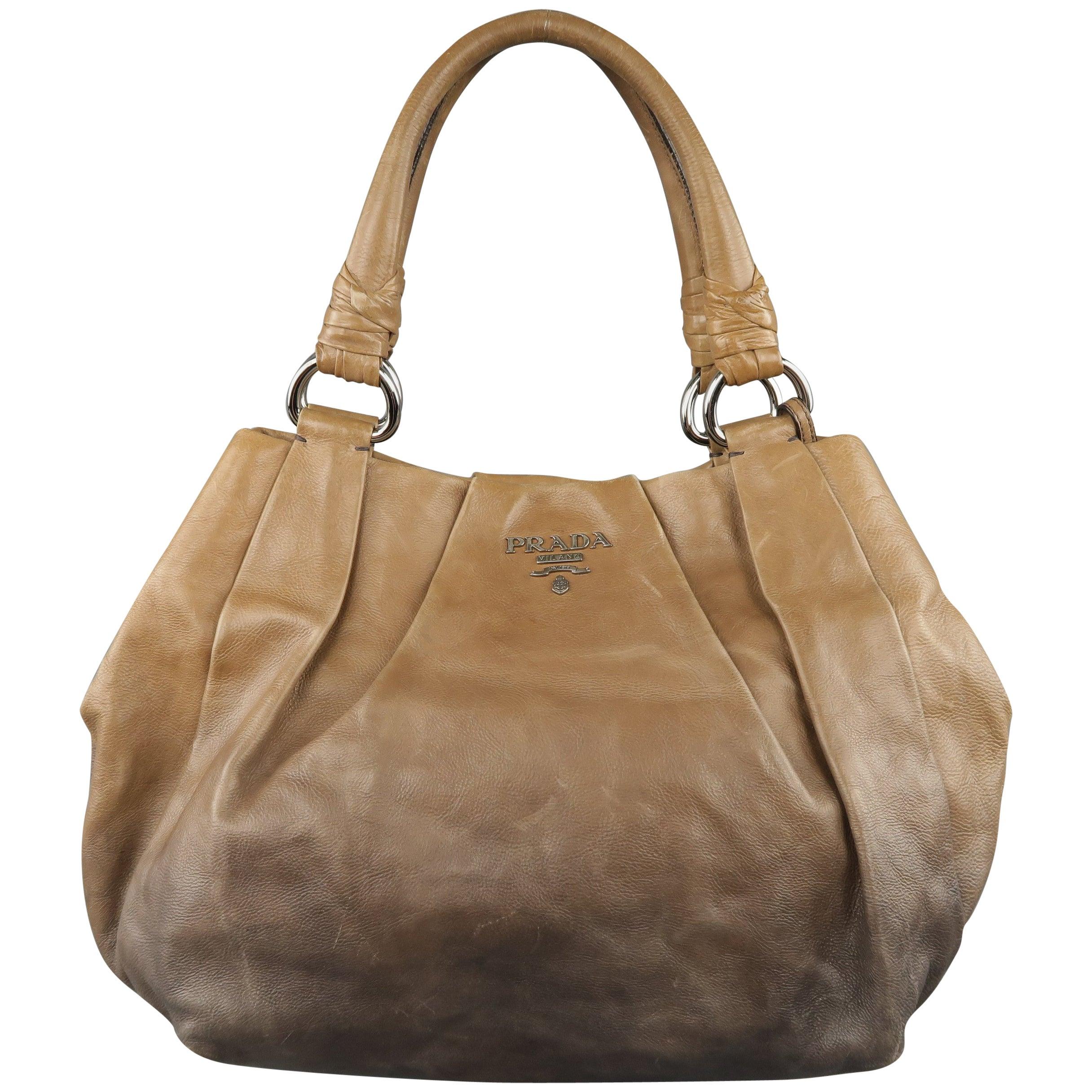 3c9063f37d PRADA Taupe Ombre Leather Degrade Blond Mordor Glace Handbag For Sale at  1stdibs