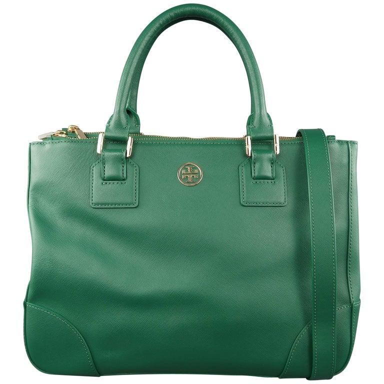 TORY BURCH Green Leather ROBINSON Tote Handbag