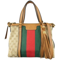 Gucci Monogram Canvas Tan Leather Green and Red Stripe Tassel Handbag