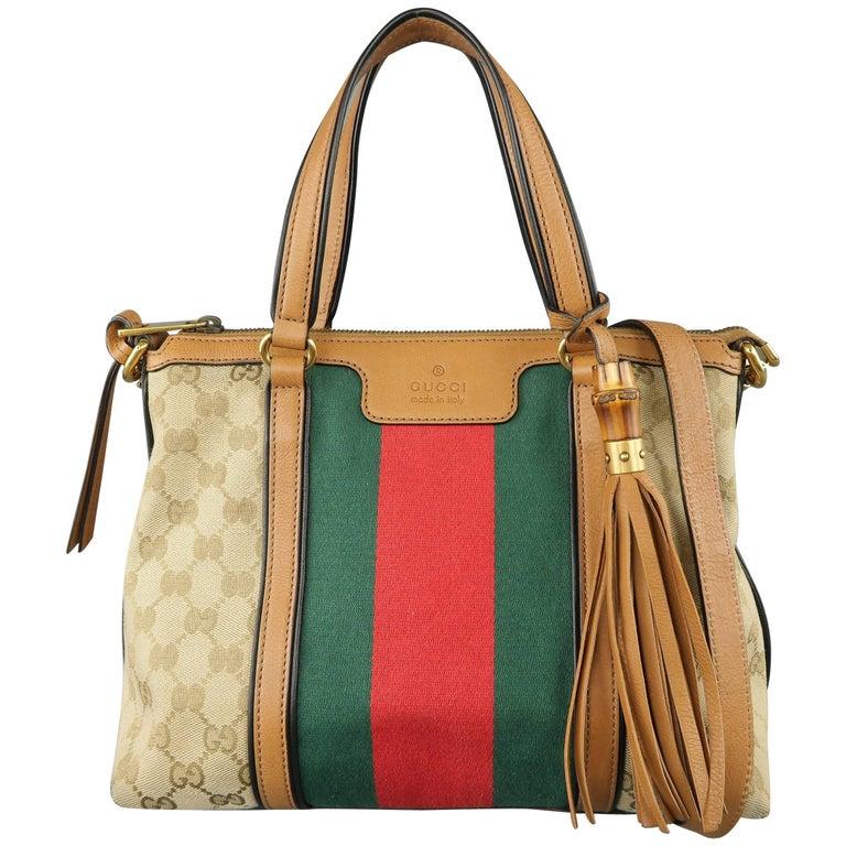 GUCCI Monogram Canvas Tan Leather Green & Red Stripe Tassel Handbag