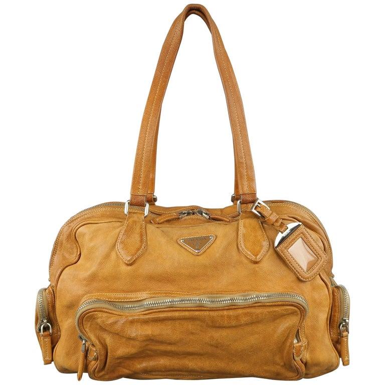 PRADA Tan Aged Leather Zip Pocket Shoulder Handbag