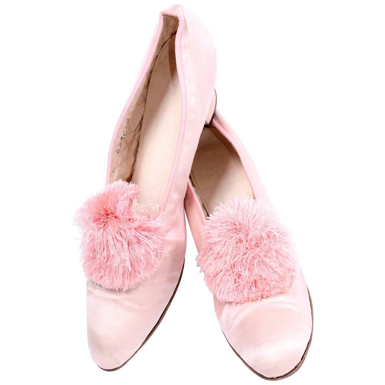 Marshall Field Edwardian Pink Satin Vintage Shoes With Pom Poms 7 For Sale