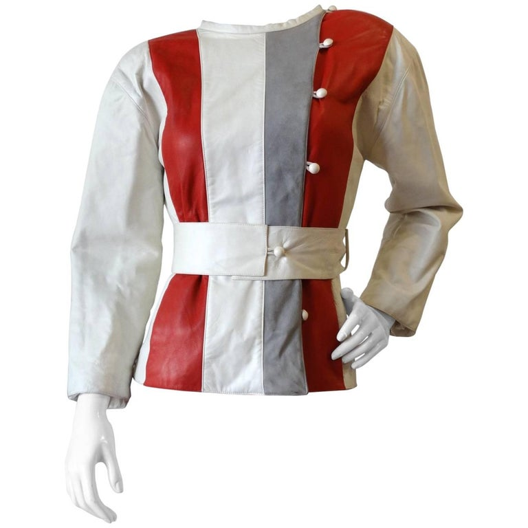 1980s Courreges Striped Leather Belted Jacket