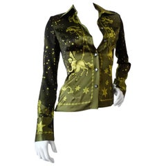 1990s Versace Constellation Button Up Blouse