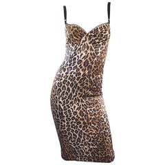1990s Dolce and Gabbana Iconic Leopard Print Sexy Vintage 90s Bustier Dress